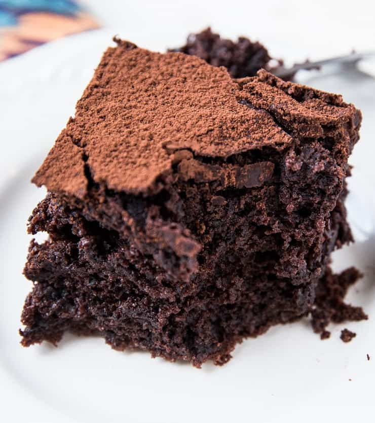 Moist, light and fluffy Sourdough Chocolate Cake made dairy-free, gluten-free, and refined sugar-free