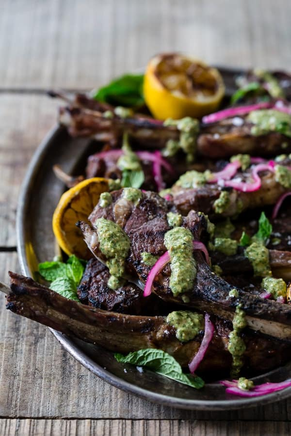 Grilled Lamb with Mint Pistachio Pesto