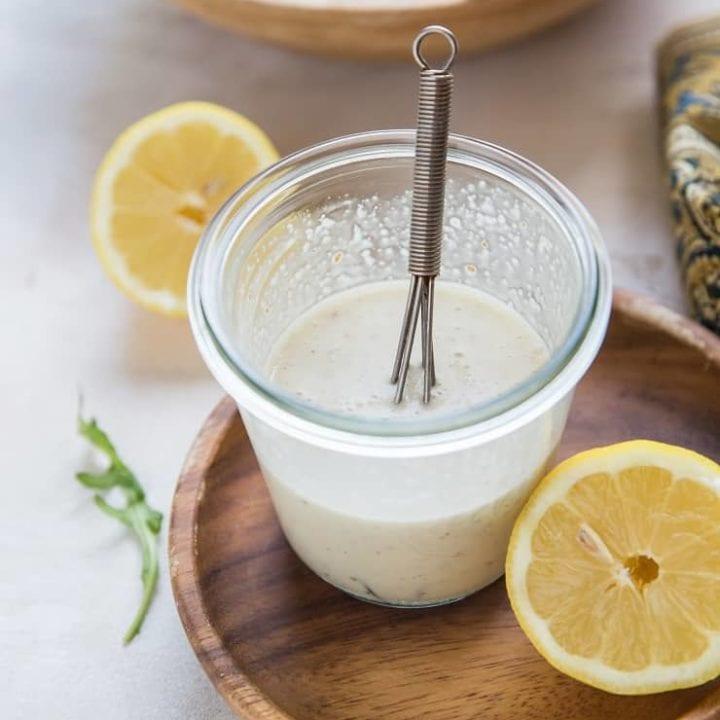 Jar of lemony Caesar Salad Dressing