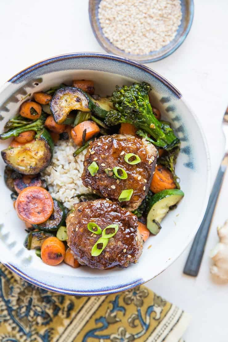 Paleo Teriyaki Meatballs with steamed brown rice and sauteed vegetables