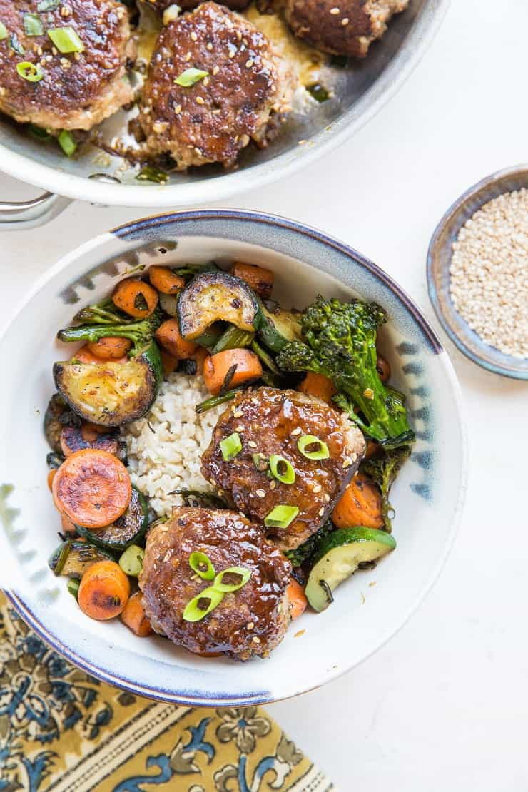 Paleo Teriyaki Turkey Meatballs made grain-free, soy-free and refined sugar-free - serve with brown rice and sauteed vegetables for a real great time