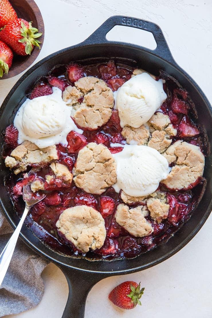 Gluten-Free Vegan Strawberry Cobbler - dairy-free, refined sugar-free healthy summer dessert recipe