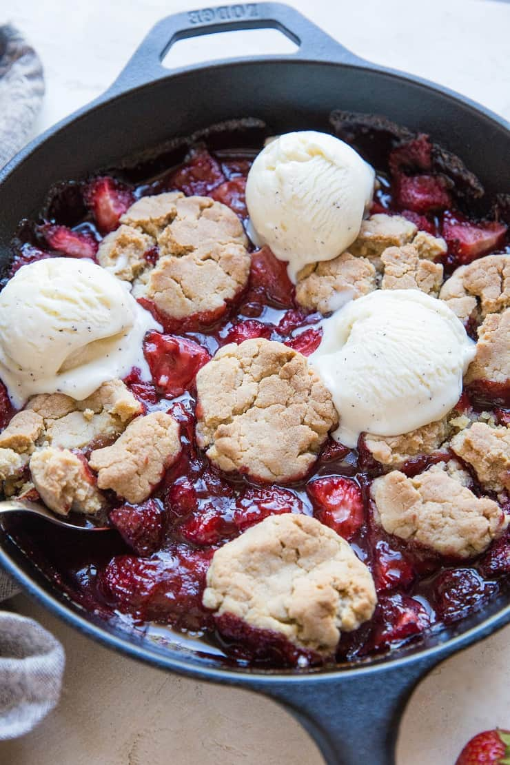 Vegan Gluten-Free Strawberry Cobbler - dairy-free, sweetened with pure maple syrup, healthy dessert recipe