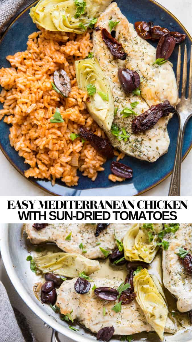 Mediterranean Chicken Breasts with artichoke hearts, sun-dried tomatoes, and kalamata olives - an easy paleo, keto, whole30 DINNER RECIPE