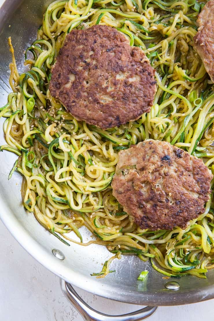 Asian Turkey Burgers with Sesame Zucchini Noodles - a healthy clean whole30 paleo dinner recipe