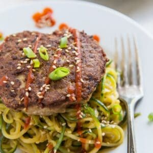 Asian Turkey Burgers Garlic Zucchini Noodles - a flavorful, healthy, clean paleo whole30 dinner recipe