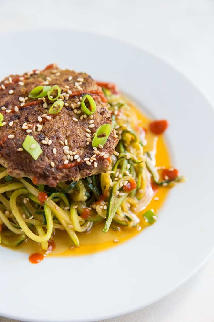 Asian Turkey Burgers with Garlicky Zucchini Noodles - a healthy clean dinner recipe - paleo, whole30, keto, low-carb