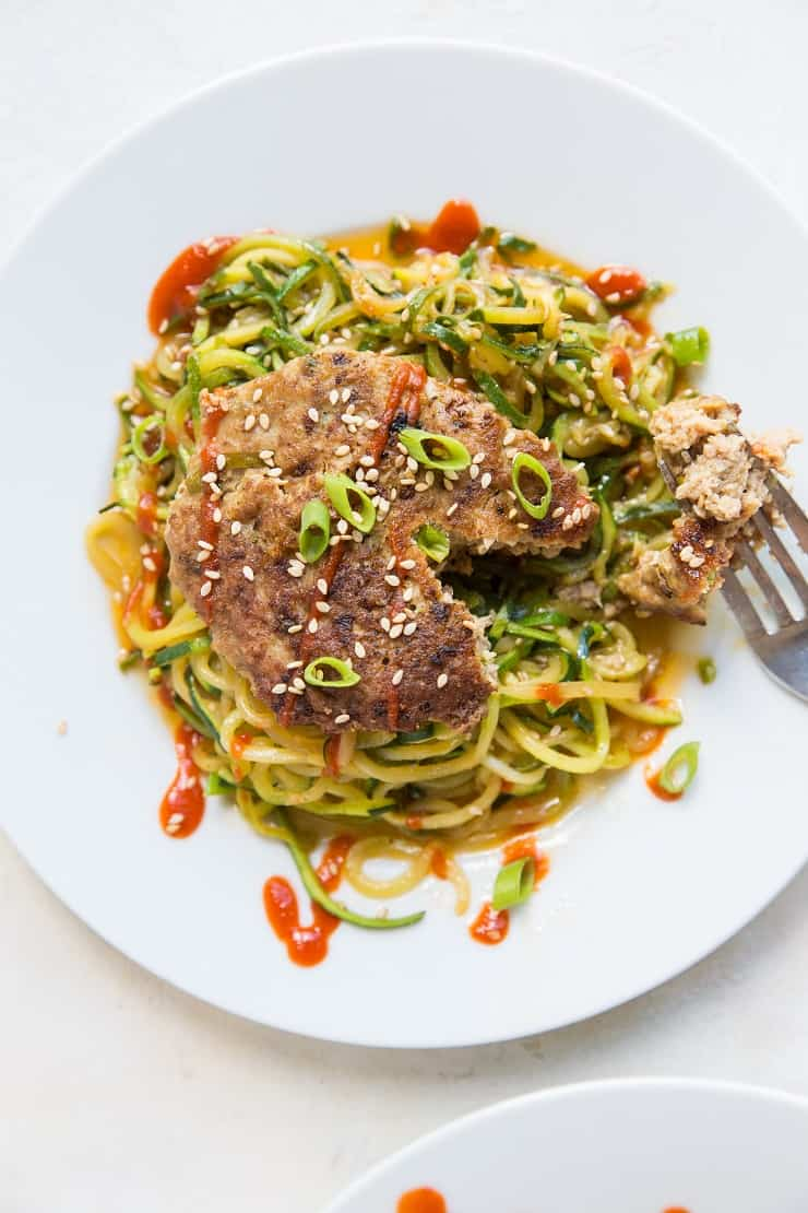 Asian-Inspired Turkey Burgers with Zucchini Noodles makes a clean and nutritious meal