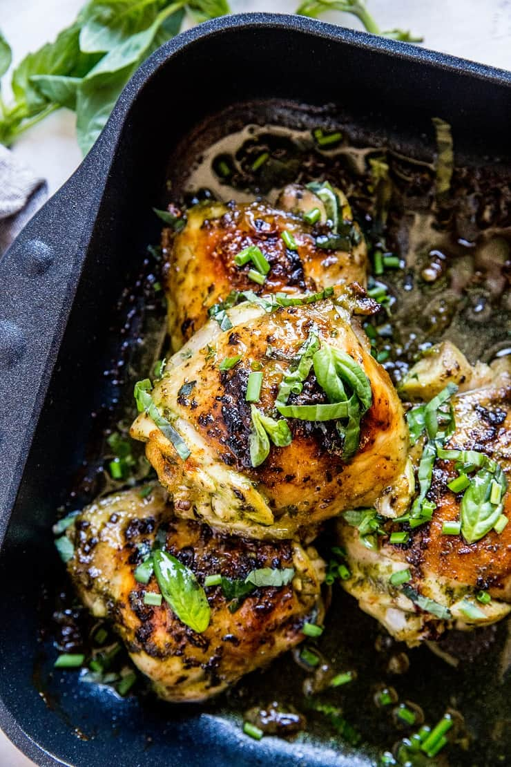Basil Baked Chicken - chicken thighs marinated in fresh basil marinade for an amazing healthy main dish