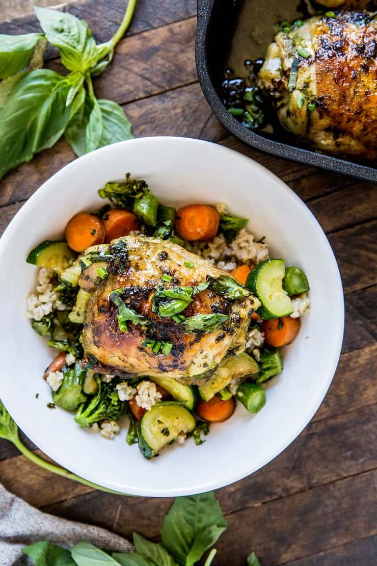 Basil Baked Chicken Bowls with Sauteed Vegetables and Brown Rice