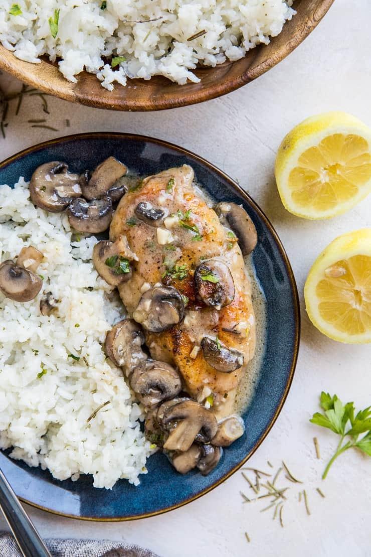 Gluten-free and dairy-free chicken marsala - a crispy yet tender breaded chicken dish with creamy garlicky mushroom sauce