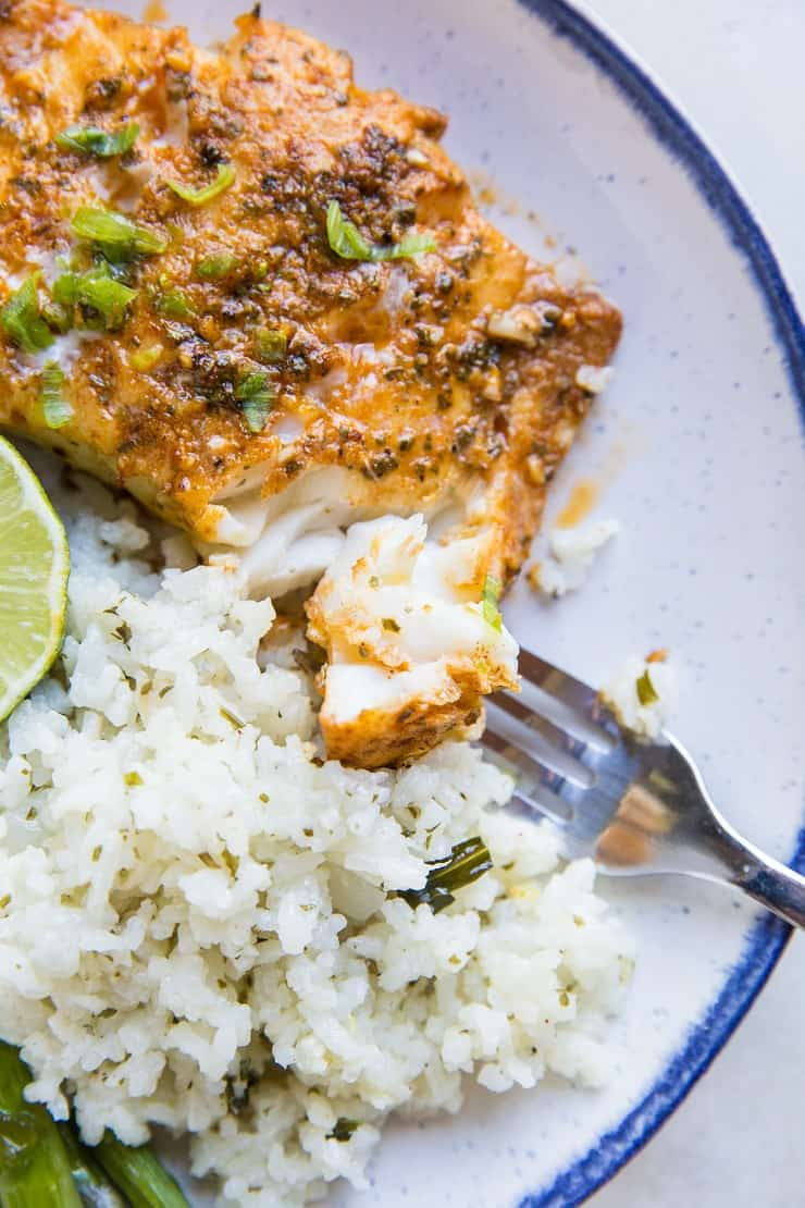 Chili Lime Baked Cod Recipe - clean, easy, keto, paleo, whole30! This recipe comes together quickly!