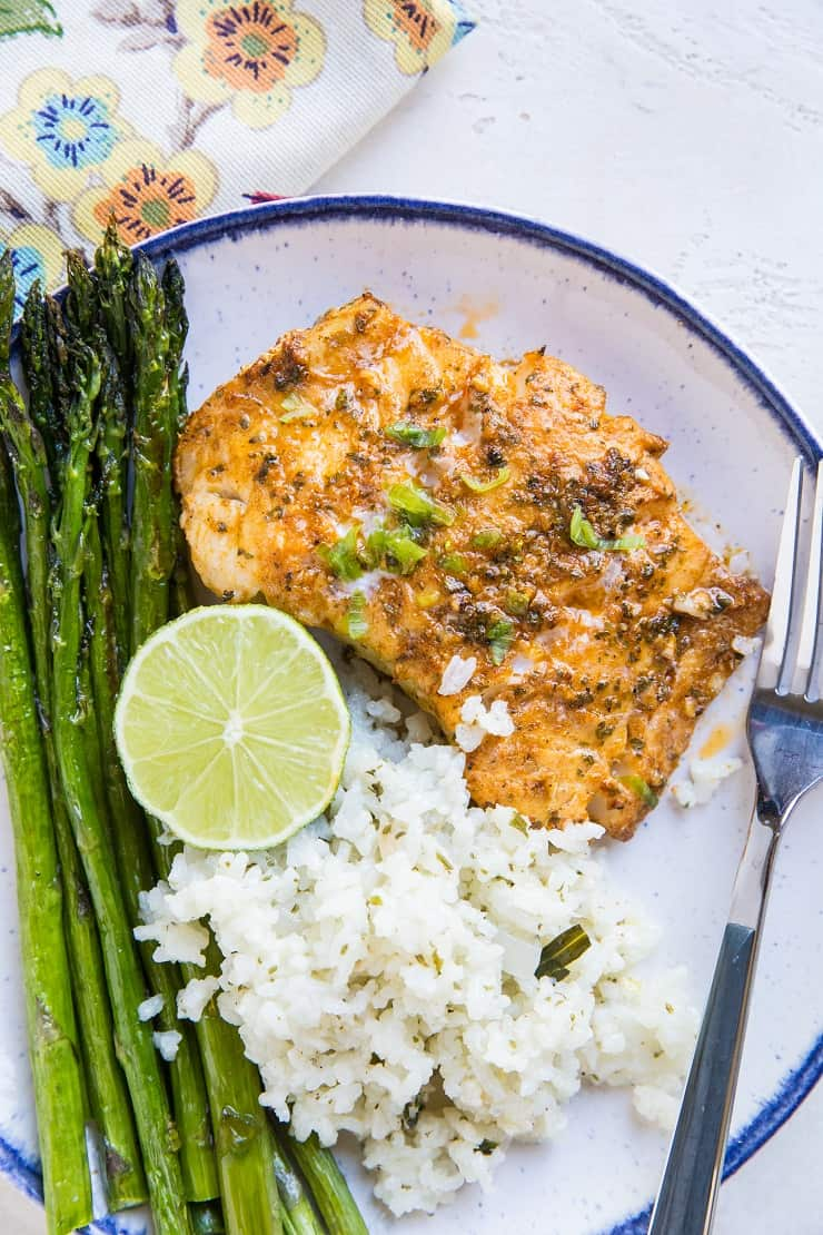 Chili Lime Baked Cod is a keto-friendly paleo low-carb dinner recipe that requires hardly any time to prepare.