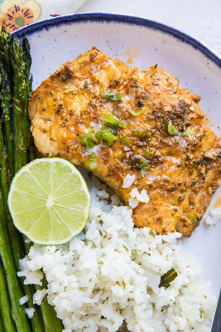 Chili Lime Baked Cod - an easy baked cod recipe in a garlic chili lime marinade. Few ingredients required for this healthy paleo, whole30, keto dinner recipe!