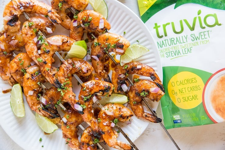 Chili Lime Glazed Shrimp Skewers - bbq shrimp for an easy healthy appetizer or main dish - paleo, keto, low-carb, sweet tangy and delicious
