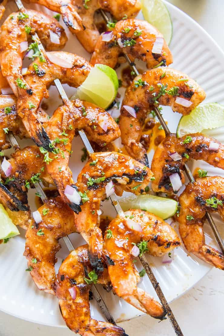 Chili Lime Grilled Shrimp - easy BBQ shrimp skewers recipe that is sweet, tangy, paleo, keto and delicious!
