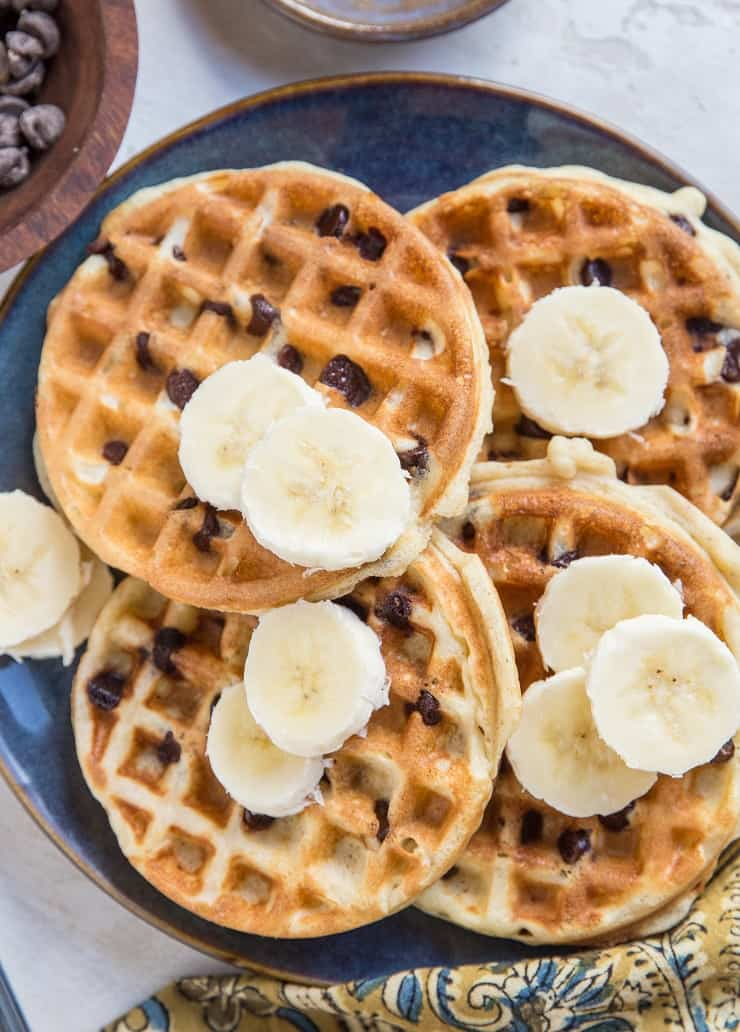 Gluten-Free Dairy-Free Chocolate Chip Sourdough Waffles - amazing light and fluffy, crispy waffles