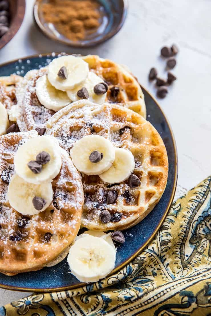 Dairy-Free Gluten-Free Chocolate Chip Sourdough Waffles - light and fluffy crispy waffles for an amazing breakfast