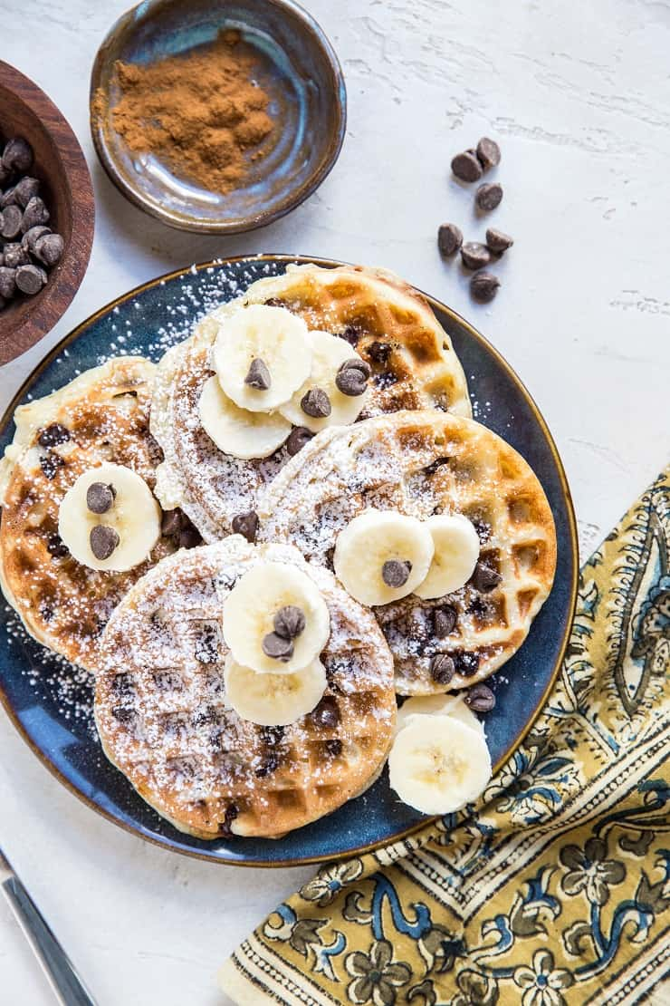Chocolate Chip Sourdough Waffles - dairy-free, refined sugar-free, cinnamony and delicious