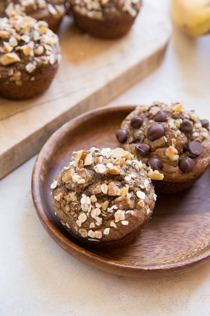 Gluten-Free Flourless Oatmeal Banana Nut Muffins made oil-free, dairy-free with no added sugar