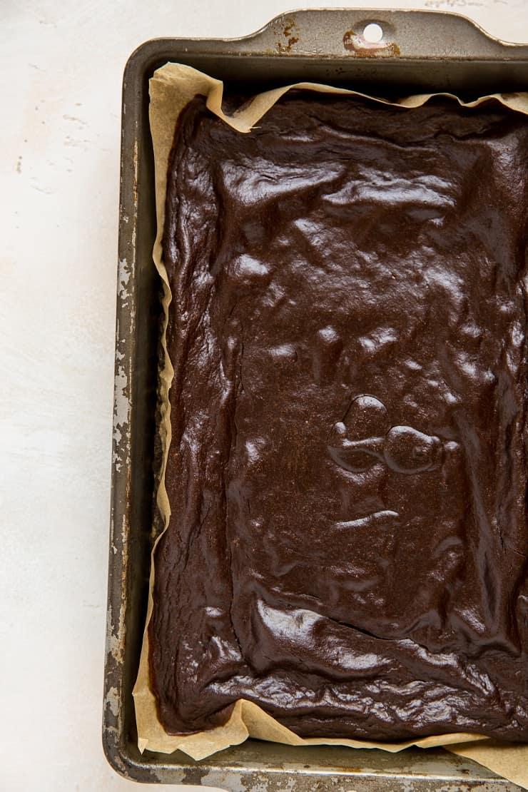 Grain-Free Banana Brownies made with tahini - paleo, healthy gluten-free brownie recipe