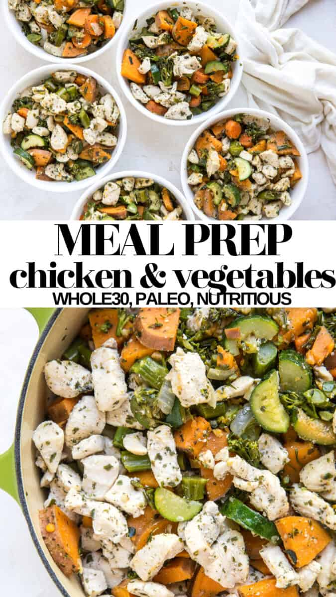 Paleo, Whole30 Meal Prep Chicken and Vegetables is great for work lunches or dinners throughout the week! This recipe makes 5 to 7 generous-sized meals for the hungry health-conscious individual!