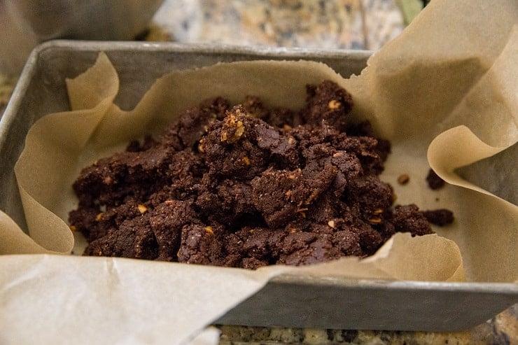 brownie batter in a loaf pan