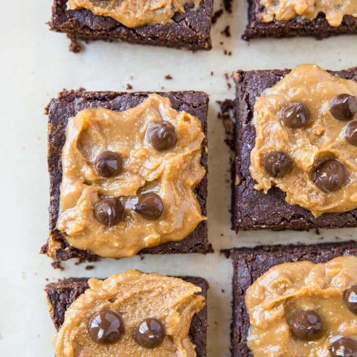 Grain-Free Vegan Peanut Butter Brownies - dairy-free, refined sugar-free, gluten-free healthy peanut butter brownies recipe