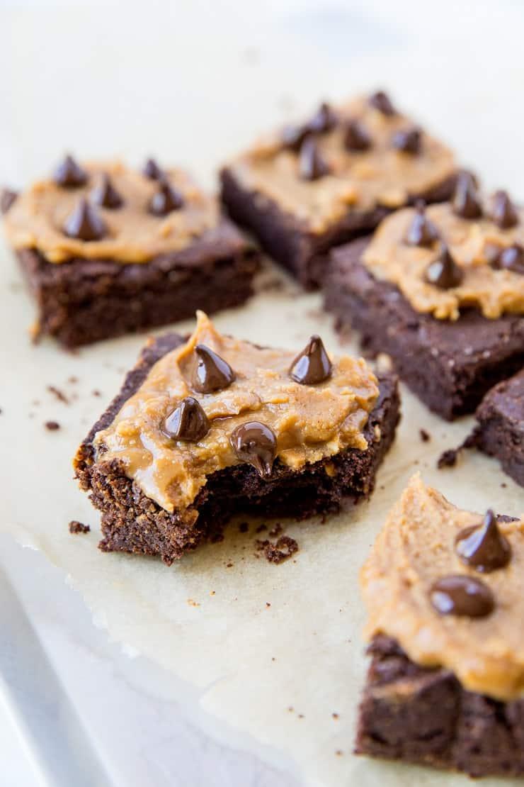 Gluten-Free Vegan Peanut Butter Brownies - grain-free, refined sugar-free, dairy-free, delicious