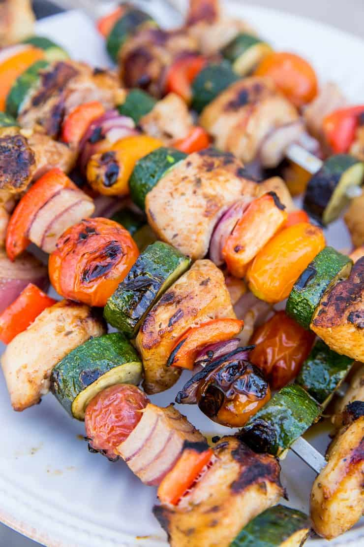 Grilled Chicken and Veggie Skewers with marinated chicken - an easy summer grilling recipe