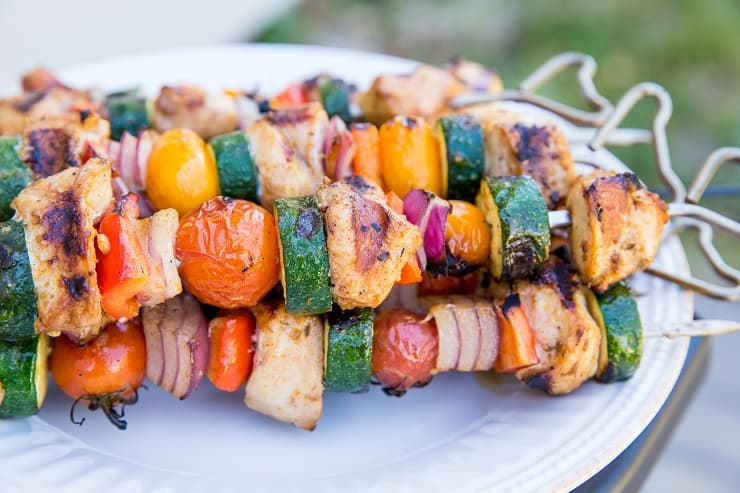 Fresh and easy grilled chicken kabobs with vegetables - tender charred chicken for summer grilling!
