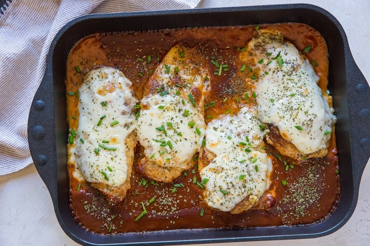 Baked Chicken Parmesan made grain-free and keto friendly