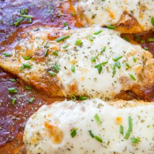 Keto Baked Chicken Parmesan - grain-free chicken parmesan recipe that is low-carb and keto-friendly