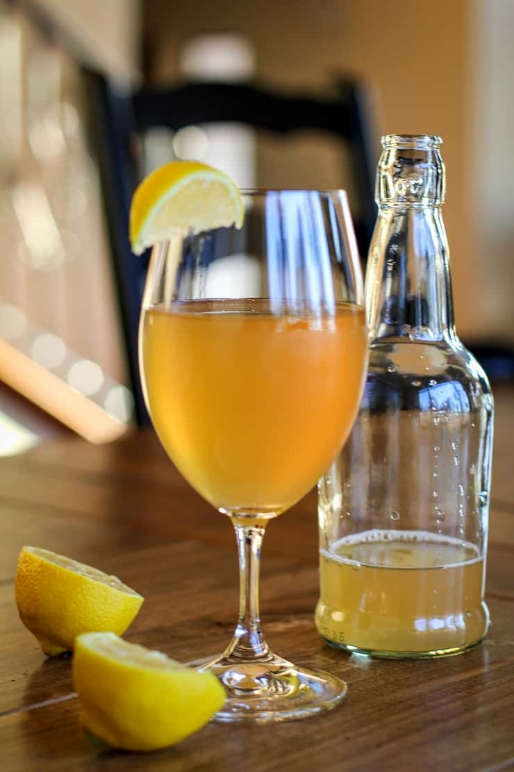 Probiotic Lacto Fermented Lemonade made with why, lemon juice, water and sugar. A low-sugar probiotic fermented drink
