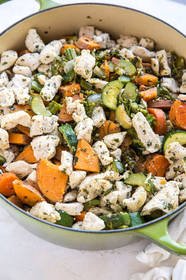 Big pot of meal prep chicken and vegetables - clean, filling paleo, whole30 lunch or dinner recipe that makes 5 meals.