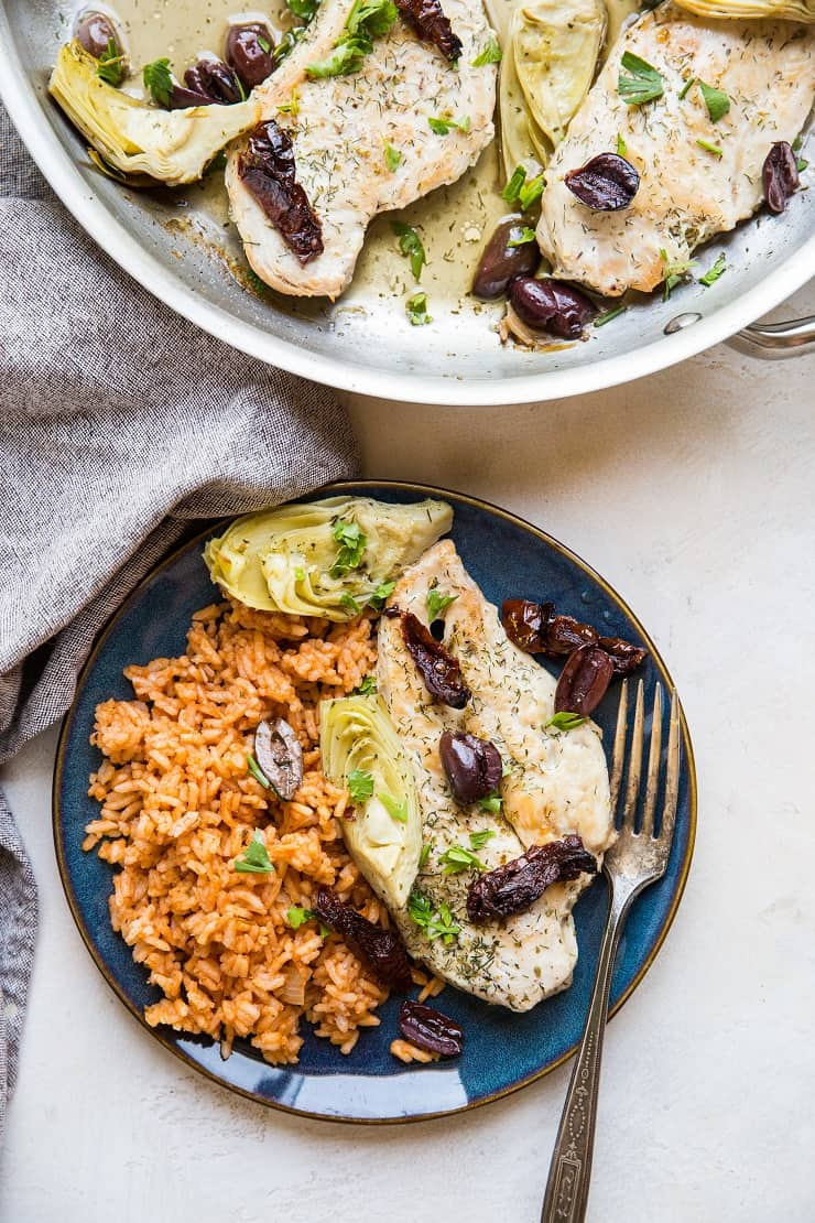 Mediterranean Chicken made in one skillet with 7 ingredients. An easy, healthy dinner recipe