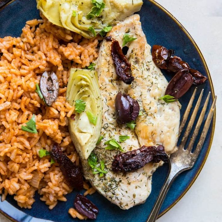 Mediterranean Chicken Breasts made with 7 basic ingredients in one skillet - paleo, whole30, keto and delicious