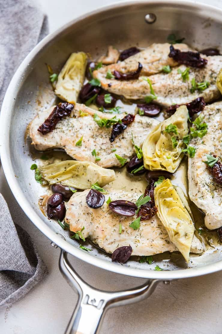 7-Ingredient Mediterranean Chicken Breasts - a paleo, whole30, keto dinner recipe that requires just one skillet