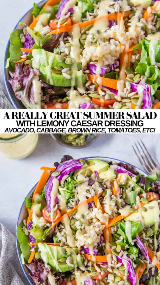 Just a really great, easy green summer salad recipe with spring greens, avocado, sunflower seeds, carrot, cherry tomatoes, brown rice, and more! This nourishing, light yet filling entree salad recipe for dinners or lunches will keep you satisfied during the hot summer months.