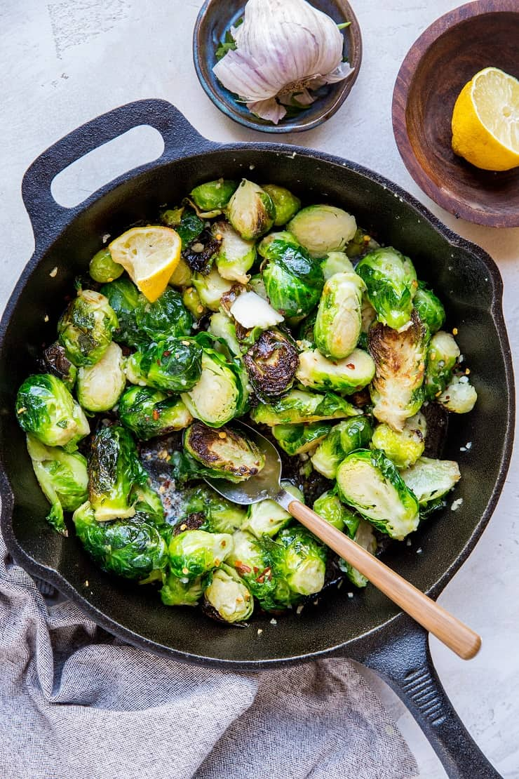 A recipe for Sauteed Brussel Sprouts with garlic and butter - easy, low-carb, healthy