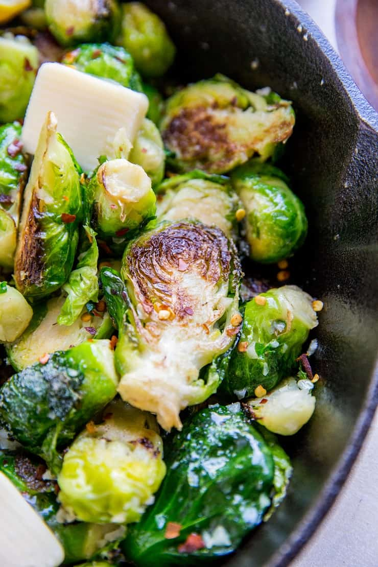 Brussel Sprouts recipe sauteed in garlic and butter - low-carb, keto, healthy side dish recipe