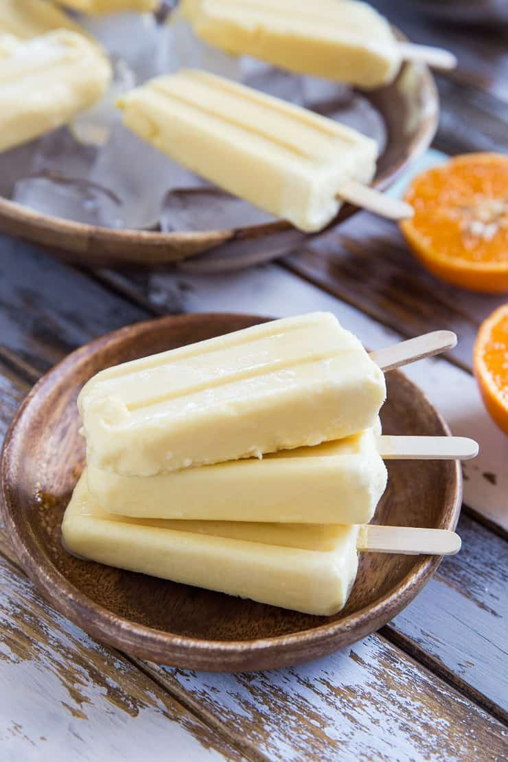 Easy Orange Creamsicles recipe with two ingredients. Vegan, paleo, healthy dessert recipe
