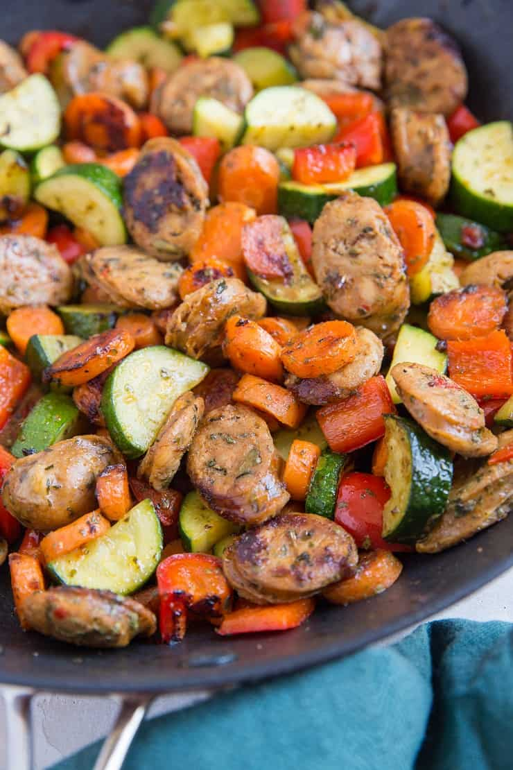 20-Minute Vegetable and Sausage Skillet with zucchini, carrots, and bell pepper