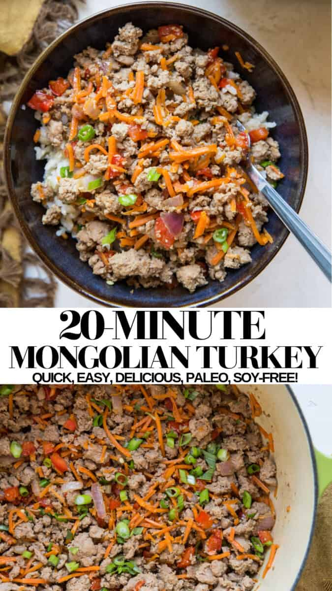 20-Minute Mongolian Turkey - a quick and healthy dinner recipe requiring only a few ingredients
