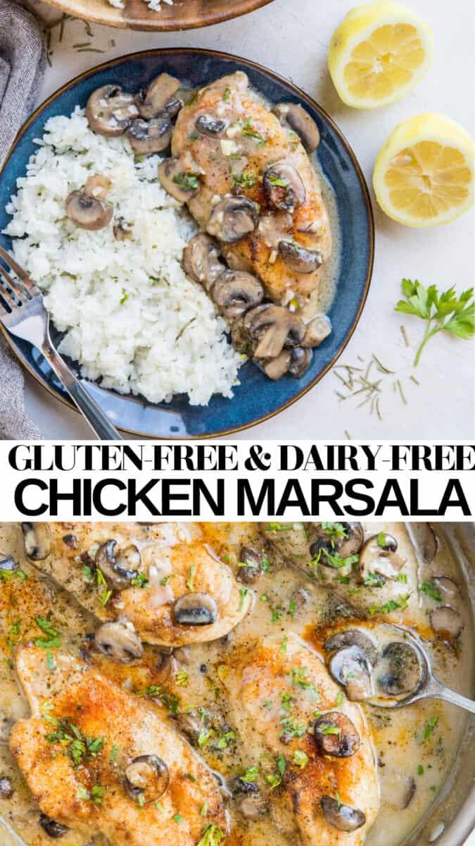 Easy Weeknight Chicken Marsala - crispy breaded chicken with creamy marsala mushroom sauce - a quick and easy healthy dinner recipe!
