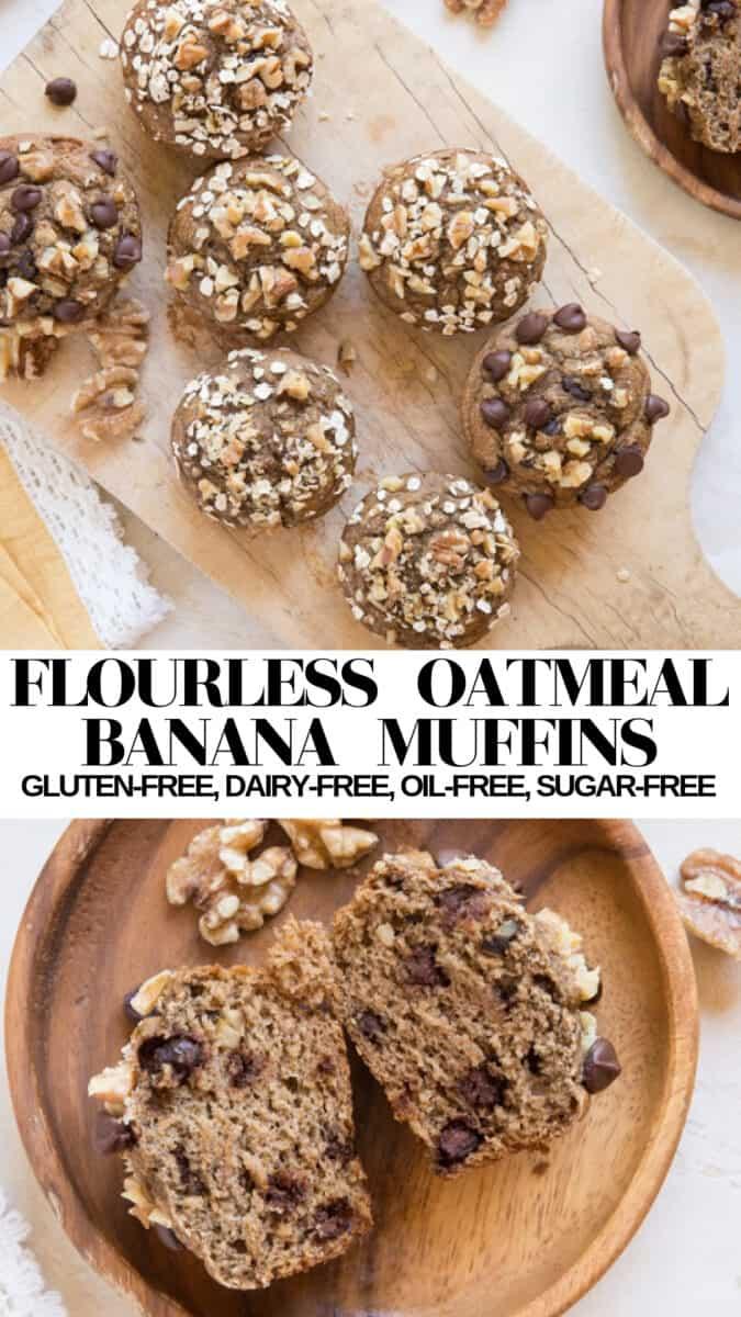 Flourless Oatmeal Banana Muffins - oil-free, dairy-free, gluten-free healthy banana muffin recipe!