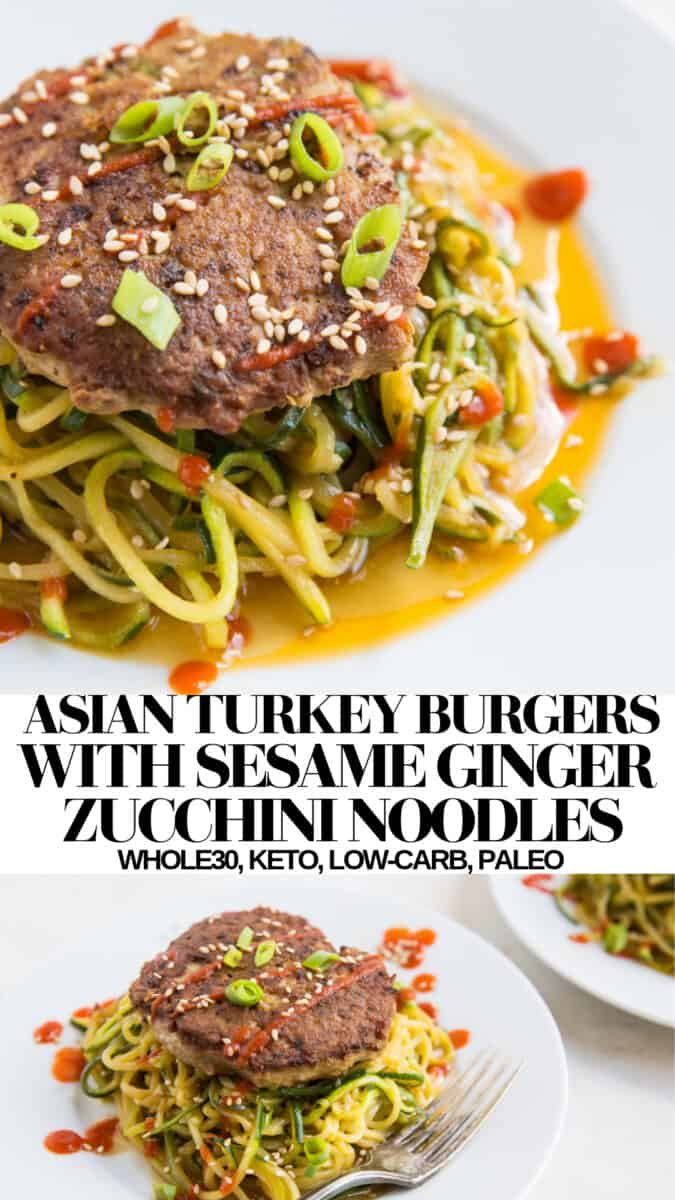 Asian Turkey Burgers with Sesame-Ginger Zucchini Noodles - paleo, keto, whole30, gluten-free, easy delicious healthy dinner recipe