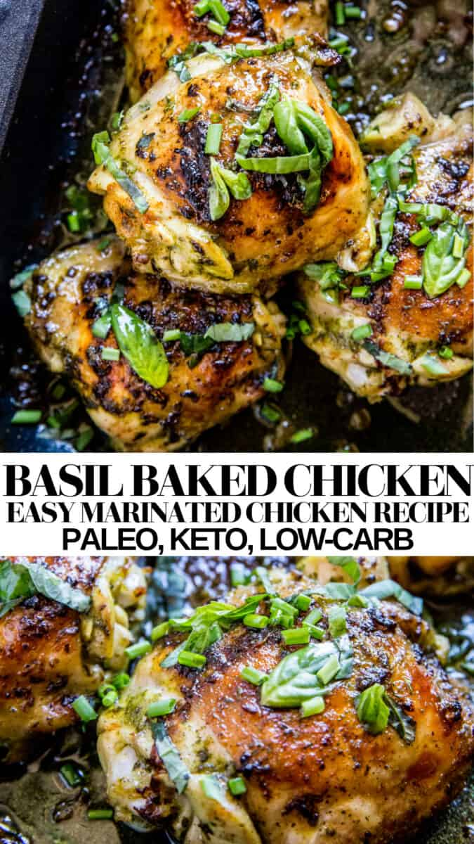 Basil Baked Chicken - paleo, keto, low-carb, delicious and easy healthy chicken recipe - use chicken thighs, dumsticks or chicken breasts!