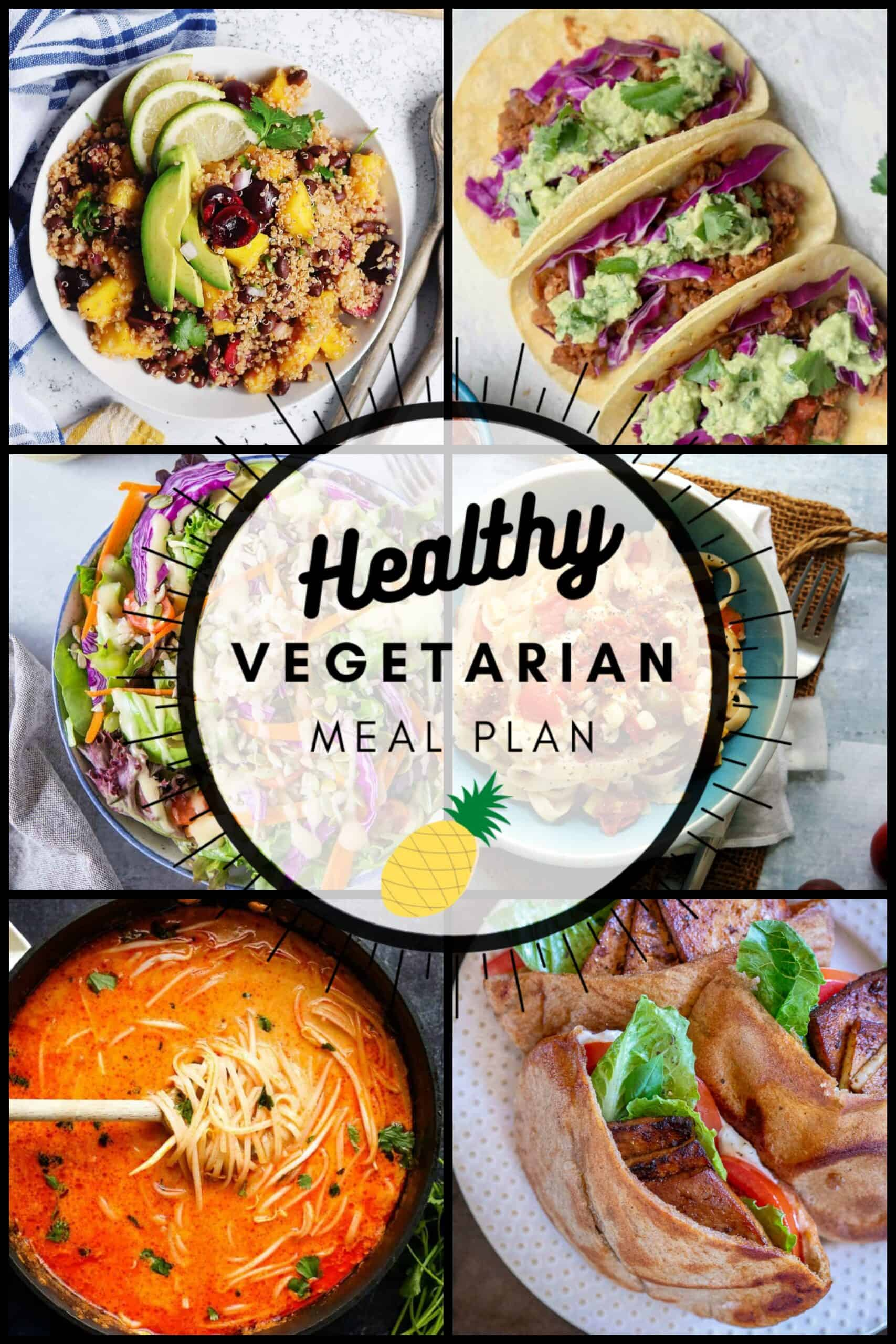 Healthy Vegetarian Meal Plan with 6 plant-based nutritious meals and one dessert