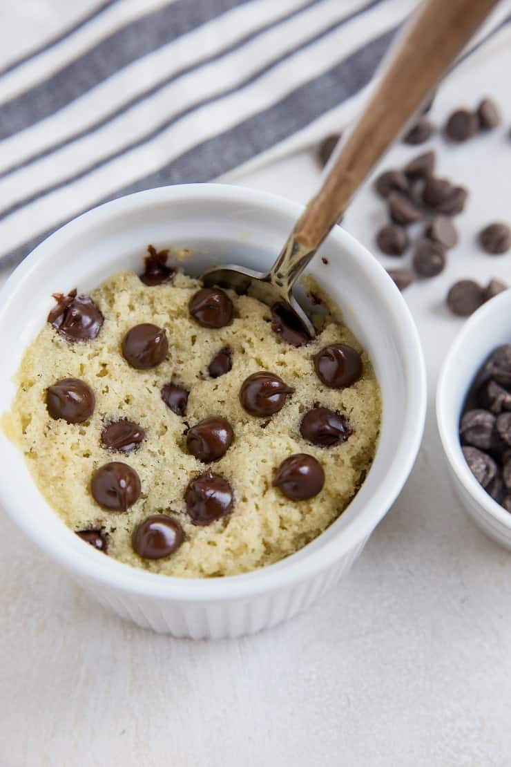 Single-Serve Keto Mug Cake made with almond flour and sugar-free sweetener for a healthy dessert recipe for one